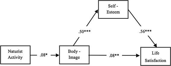 Relazione fra attività nudo-naturista e soddisfazione della propria vita attraverso una maggiore auto-stima e una migliore immagine del proprio corpo. Nota *p < .05, **p < .01, ***p < .001