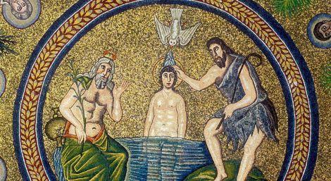 Il Battesimo di Gesù - mosaico del Battistero degli Ariani a Ravenna
