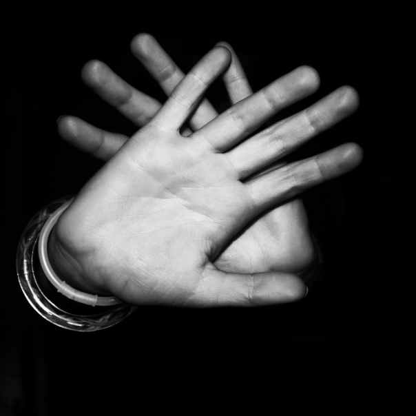 hands black and white fingers palm
